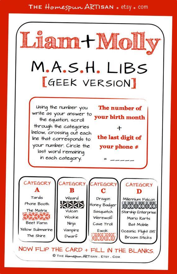 Unique bridal shower game mash libs no 201 geek games couples