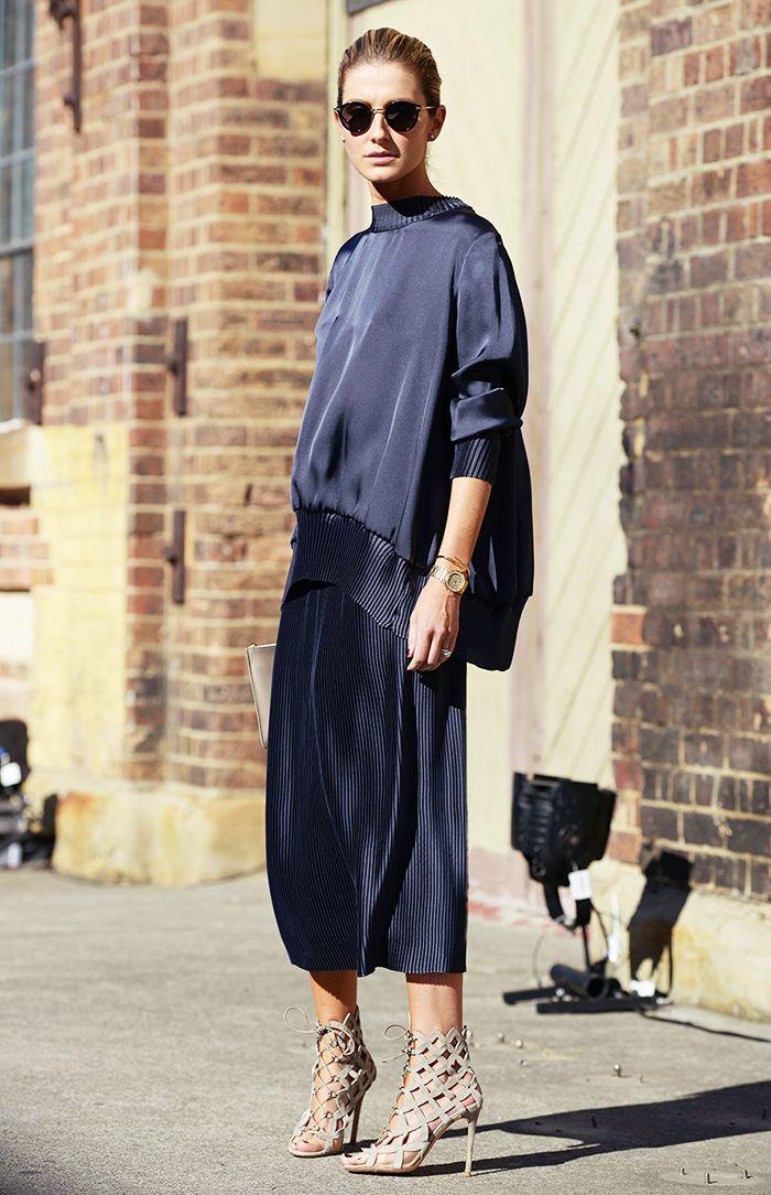 Street style - navy silk drape top & pleated skirt - beige laser cut heels