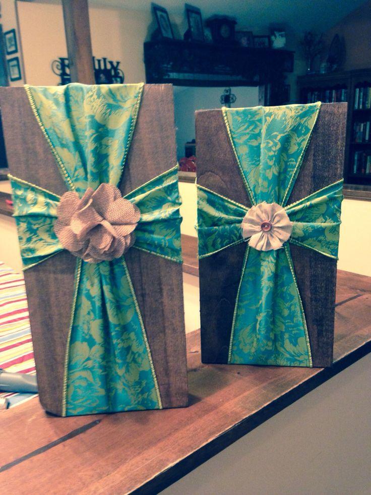 Fabric Ribbon Crosses On Wood For Sale Cross