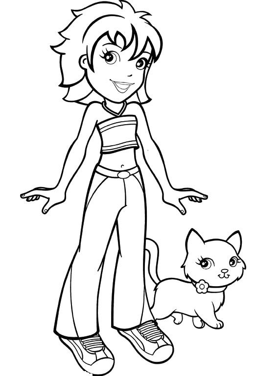 Polly pocket kerstie and cat coloring pages coloriages images petites filles modeles cat - Coloriage polly pocket ...