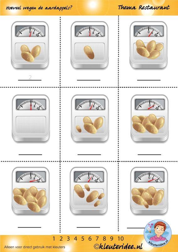 Hoeveel wegen de aardappels, thema restaurant, juf Petra van kleuteridee.nl, how much weigh the potatoes, restaurant theme, free printable