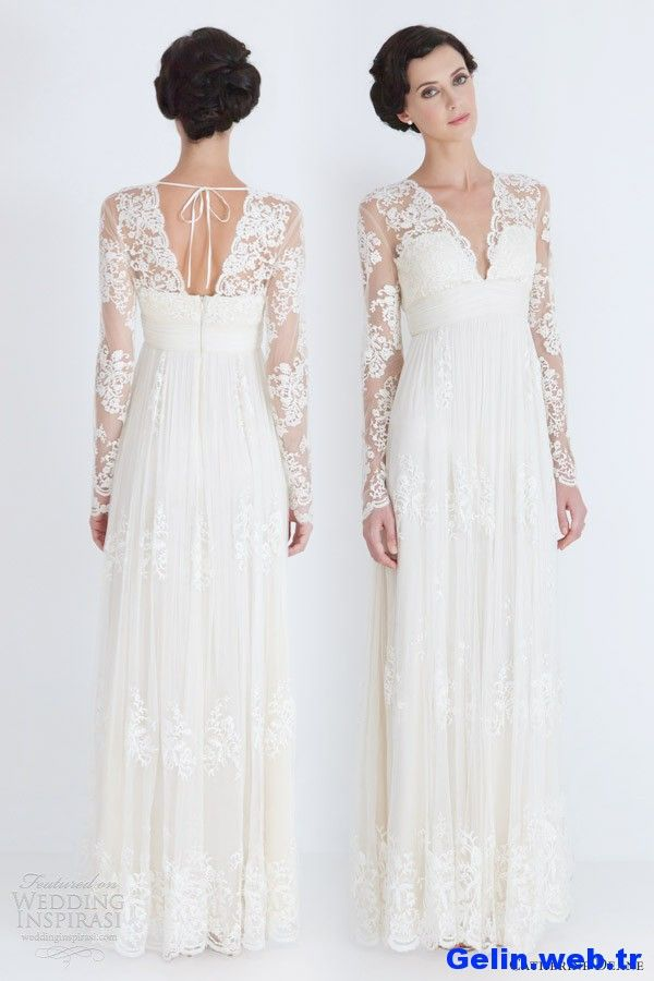 wedding dress long sleeves   catherine deane wedding dresses 2012 lia long sleeve lace bridal gown ...