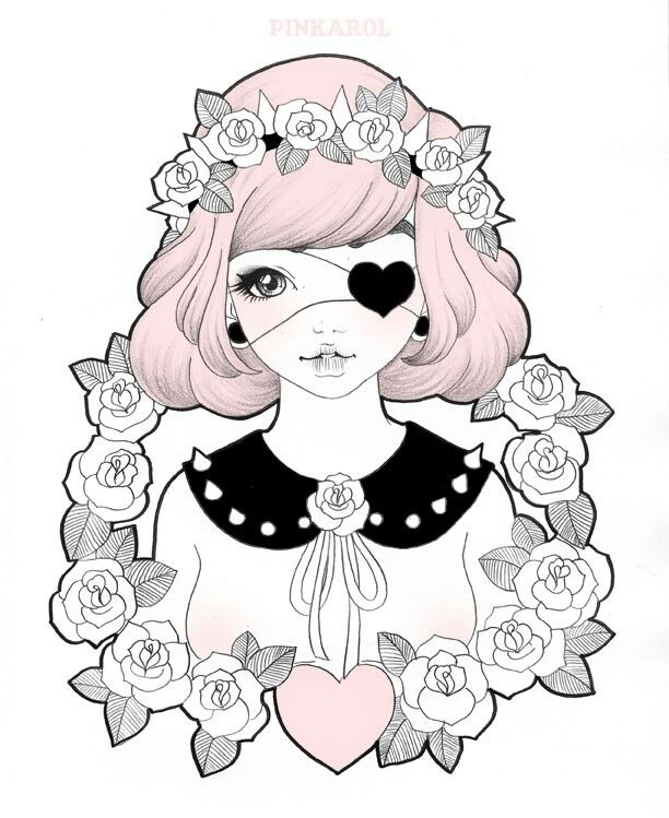 It is a photo of Current Pastel Goth Girl Drawing