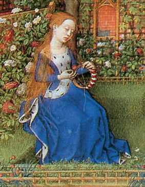 Emilia in the garden in this illustration from Boccaccio, Emilia wears the formal ermine-trimmed sideless surcoat that identifies royalty in illuminated manuscripts of this period, 1460.