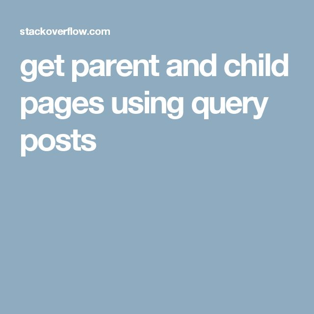 get parent and child pages using query posts:  <ul>     <li>Parent Page1<li>      <ul>         <li>Child page1</li>         <li>Child page2</li>         <li>Child page etc</li>     </ul>      <li>Parent Page2</li>      <ul>         <li>Child page1</li>         <li>Child page2</li>         <li>Child page etc</li>     </ul>      ...and so forth </ul>