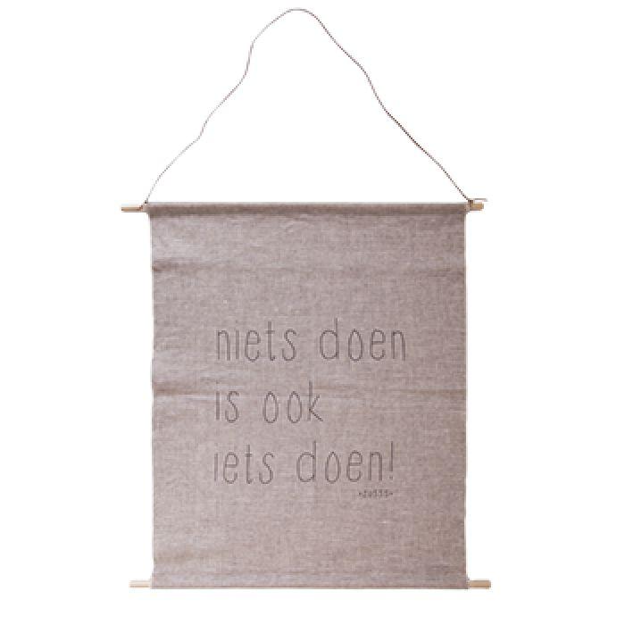 Tas Voorjaar 2015 : Zusss wanddoek linnen quot niets doen is ook iets nieuw