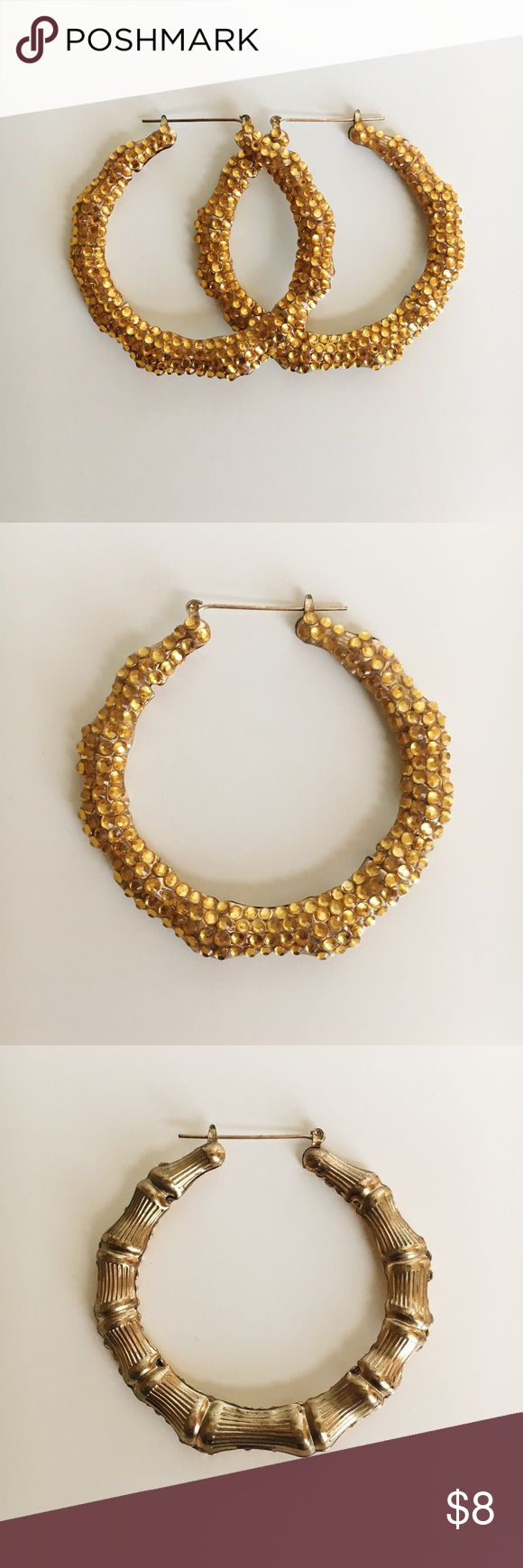Gold Rhinestone Bamboo Earrings NWOT I bought these and then never ended up wearing them. They are in great condition and are not missing any Rhinestones. They are plain bamboo on one side so they can be worn both ways. Jewelry Earrings