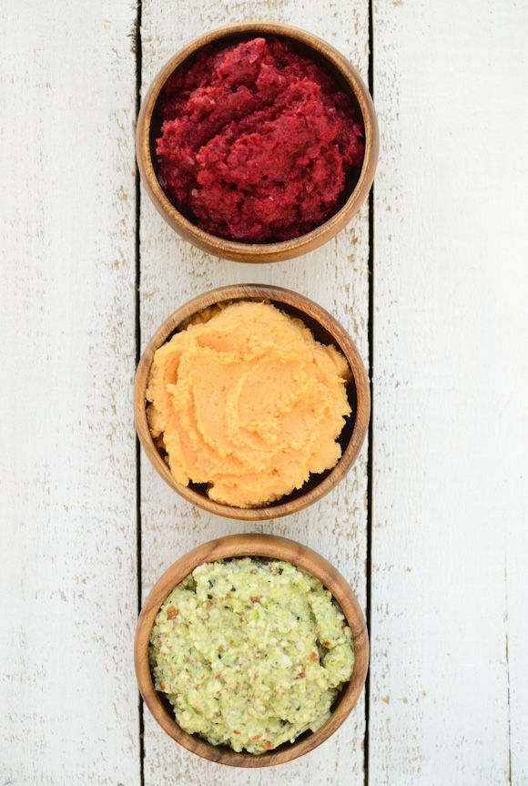 Trio of dips: Zucchini Almond Dip Beetroot-Sun Dip Sweet Potato Hummus