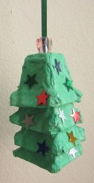 Egg Carton Christmas Tree Ornament Kids Craft. Link does not work, but it looks pretty straight forward to figure out how to make this.