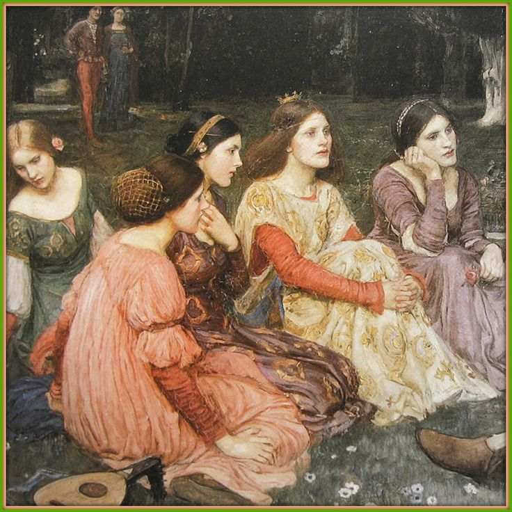 John William Waterhouse / A Tale From The Decameron. 1916 (detail#1)