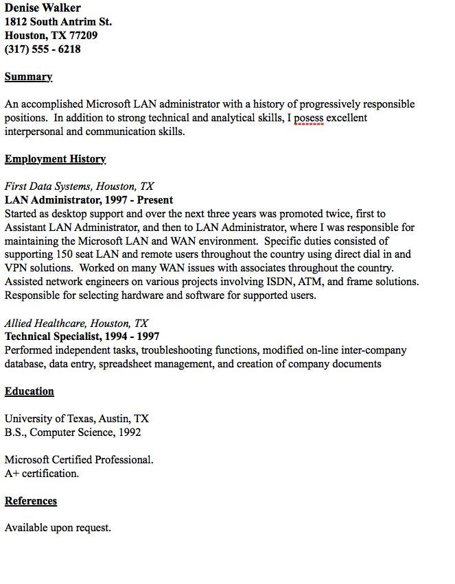 Example Of Lan Administrator Resume -    resumesdesign - lan administrator resume