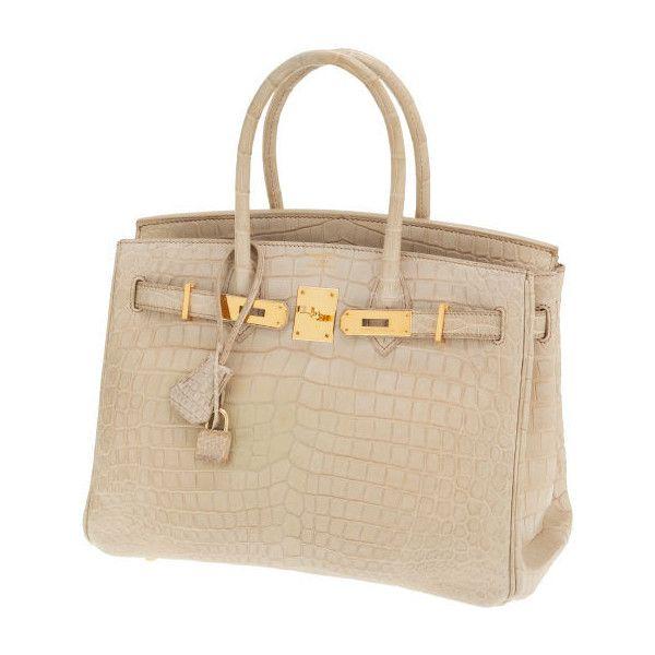 Hermes 30cm Poussiere Matte Nilo Crocodile Birkin Bag with   Lot... ❤ liked on Polyvore featuring bags, handbags, bolsas, purses, borse, hand bags, brown crocodile handbag, crocodile handbag, brown hand bags and hermes handbags