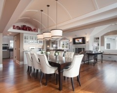 Dark wood table with white chairs: Idea, Traditional Dining Rooms, Ceiling, Eclectic Dining Rooms, House, Room Design, Lake View