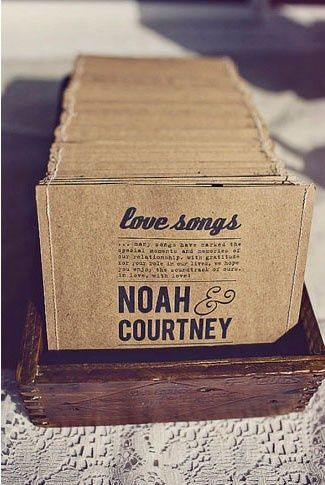 CD of favorite songs for wedding guest favor (one of them at least). This would be a lot of fun! Other great favor ideas listed on the website too! (: