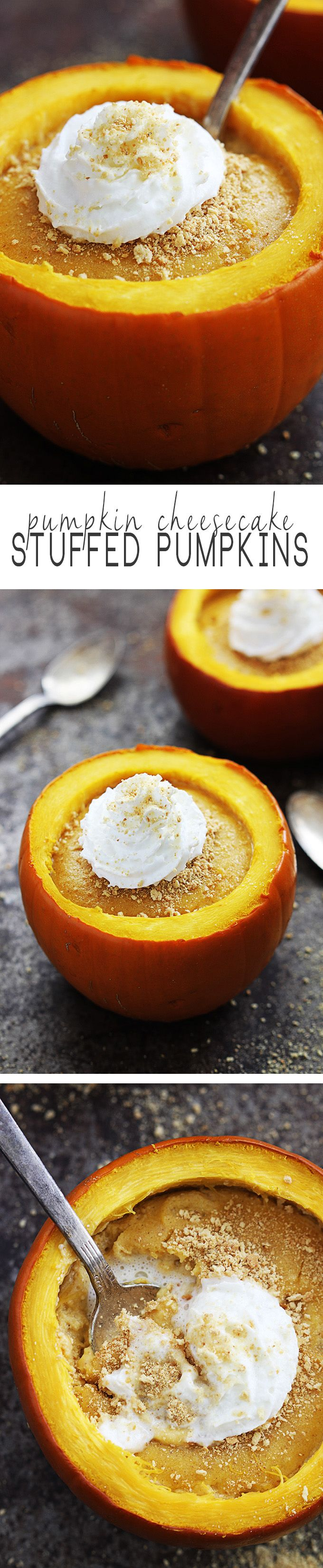 These festive pumpkin cheesecake stuffed pumpkins are the perfect way to serve up a tasty fall dessert this season. You won't believe how easy this recipe is!