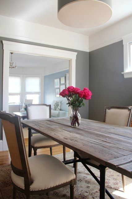 """French + Industrial Dining Room Painted BM's """"Chelsea Gray"""" (Same color as my dining room!)"""