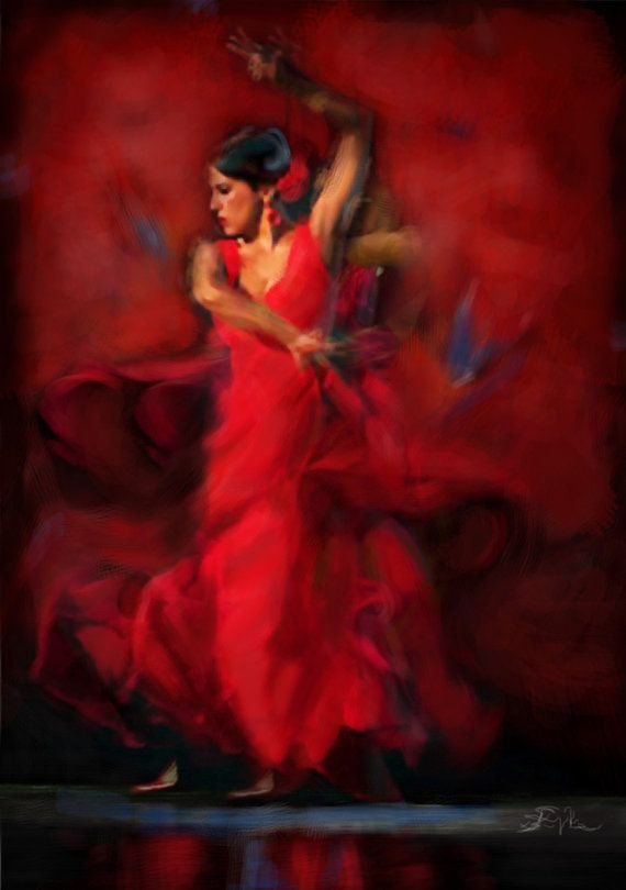 Flamenco Dancer - Large Size - Spanish Passion Dancer - Latin Woman Dancing - Figurative Painting - original oil painting.