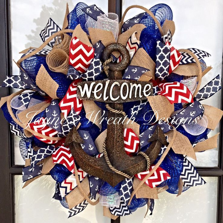 """Nautical Wreath with Burlap, Anchor, Chevron, and Quatrefoil Ribbons and """"Welcome"""" Anchor Sign.   Jayne's wreath designs on FB and Instagram"""