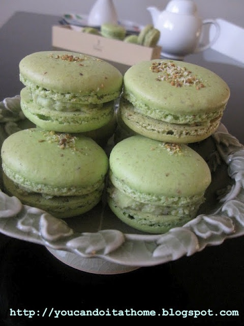 Pistachio macarons with pistachio buttercream filling (suitable for ...