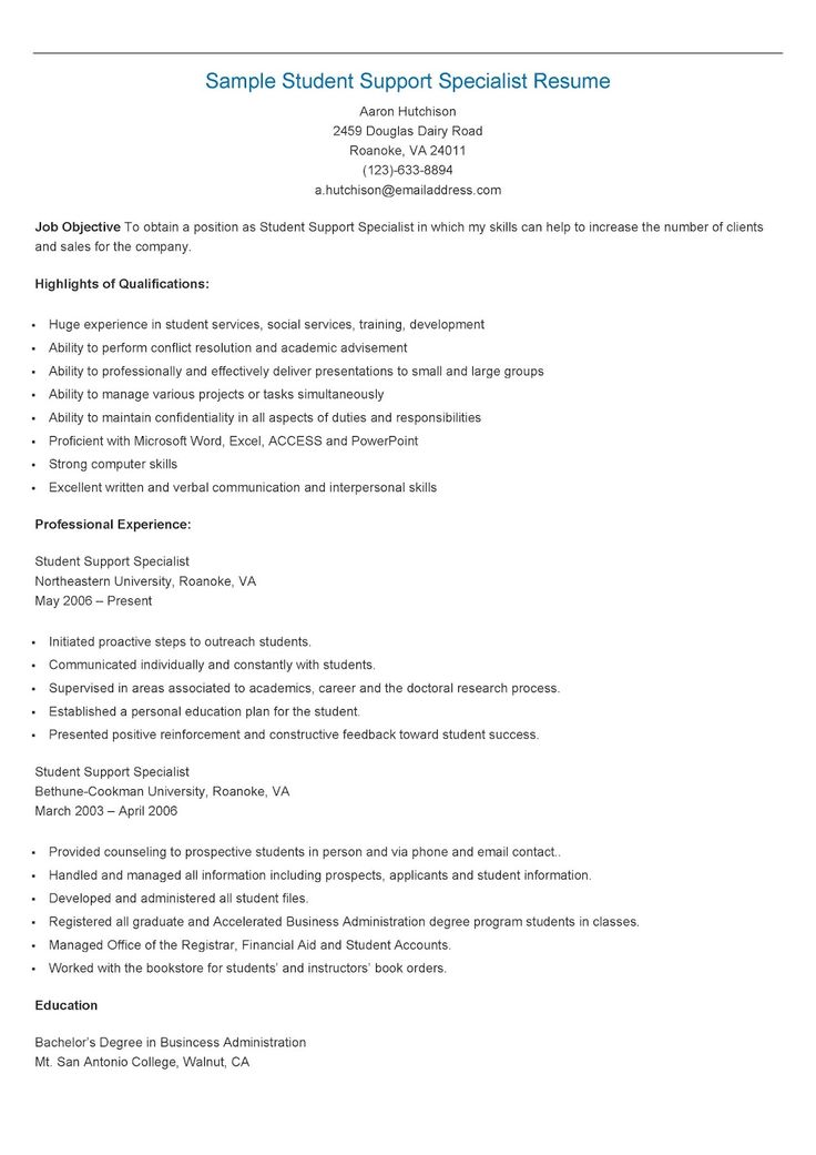 Sample Student Support Specialist Resume resame Pinterest - sonographer resume