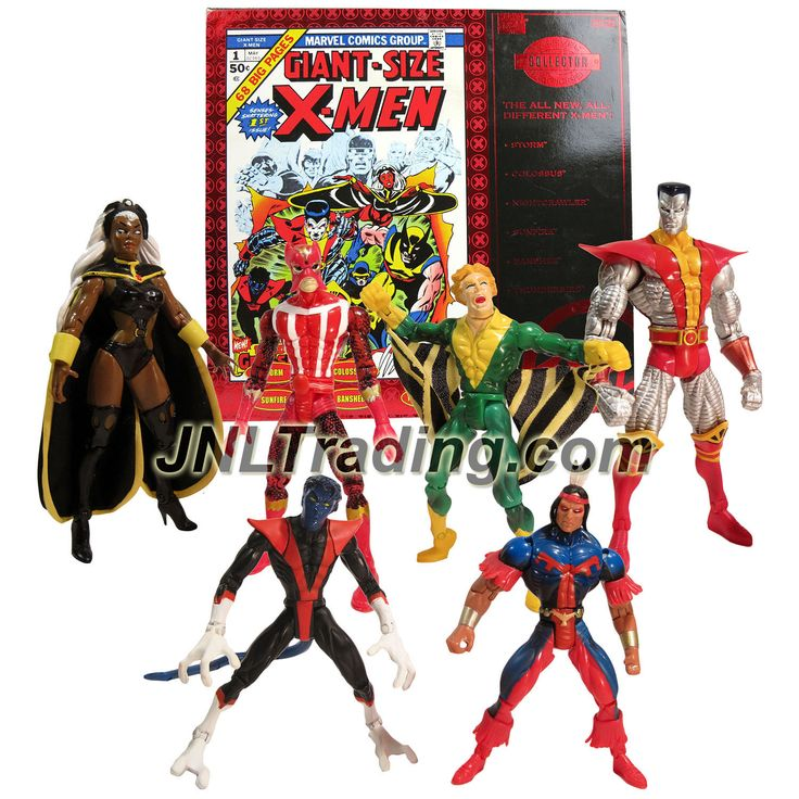 "ToyBiz Year 1997 Marvel Comics Collector Edition ""Giant-Size X-Men"" 6 Pack Figure Set - STORM, COLOSSUS, NIGHTCRAWLER, SUNFIRE, BANSHEE & THUNDERBIRD"