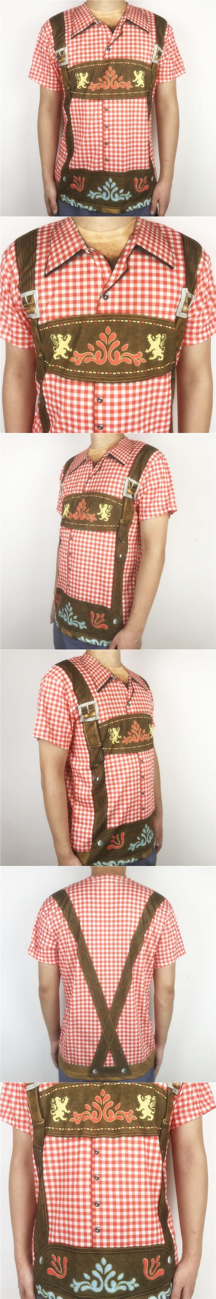 Funny Oktoberfest Lederhosen Printed T Shirts for Men Vintage Short Sleeve Beer Festival Party Costume Tee Plus Size S-XL