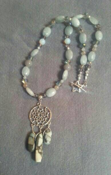 Check out this item in my Etsy shop https://www.etsy.com/uk/listing/291076523/aquamarine-and-ocean-jasper-beaded