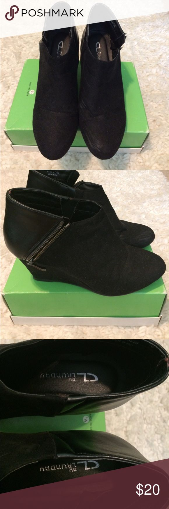Chinese laundry wedge booties Size 7.5, worn 2 times but kept in good condition. Left shoe has scuffs/marks on the inner right side of it, and the bottom has some small signs of wear. There are no damages and the zippers on both sides work! About 2.5 inch heels. Chinese Laundry Shoes Ankle Boots & Booties