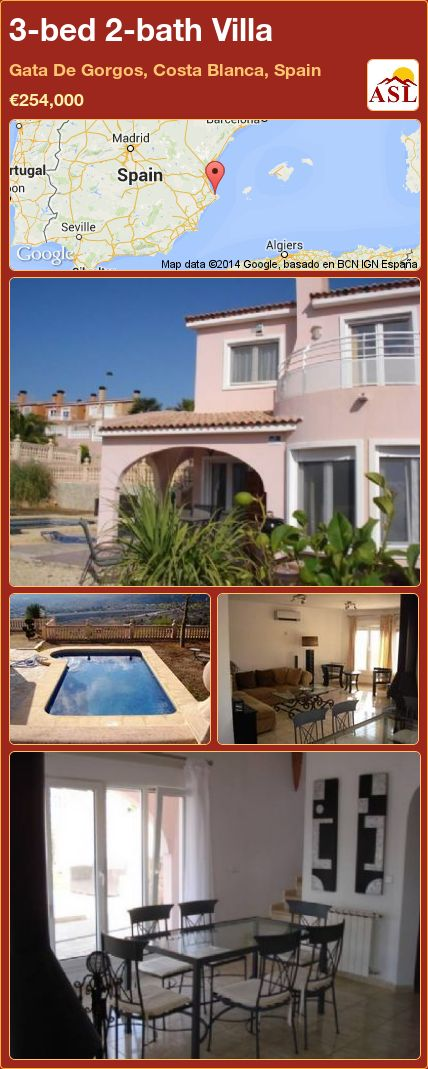 3-bed 2-bath Villa in Gata De Gorgos, Costa Blanca, Spain ►€254,000 #PropertyForSaleInSpain