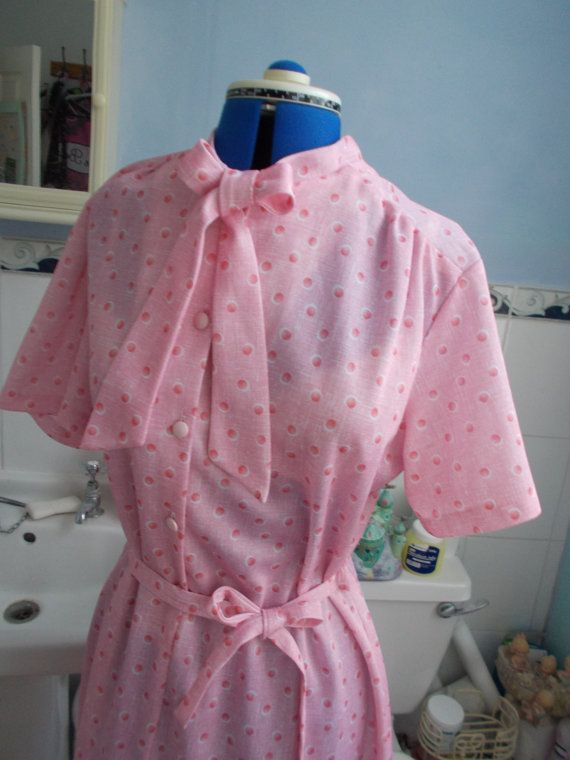 Bespoke 1950s Pussy-Bow Pink Print Dress with Belt-Tie &