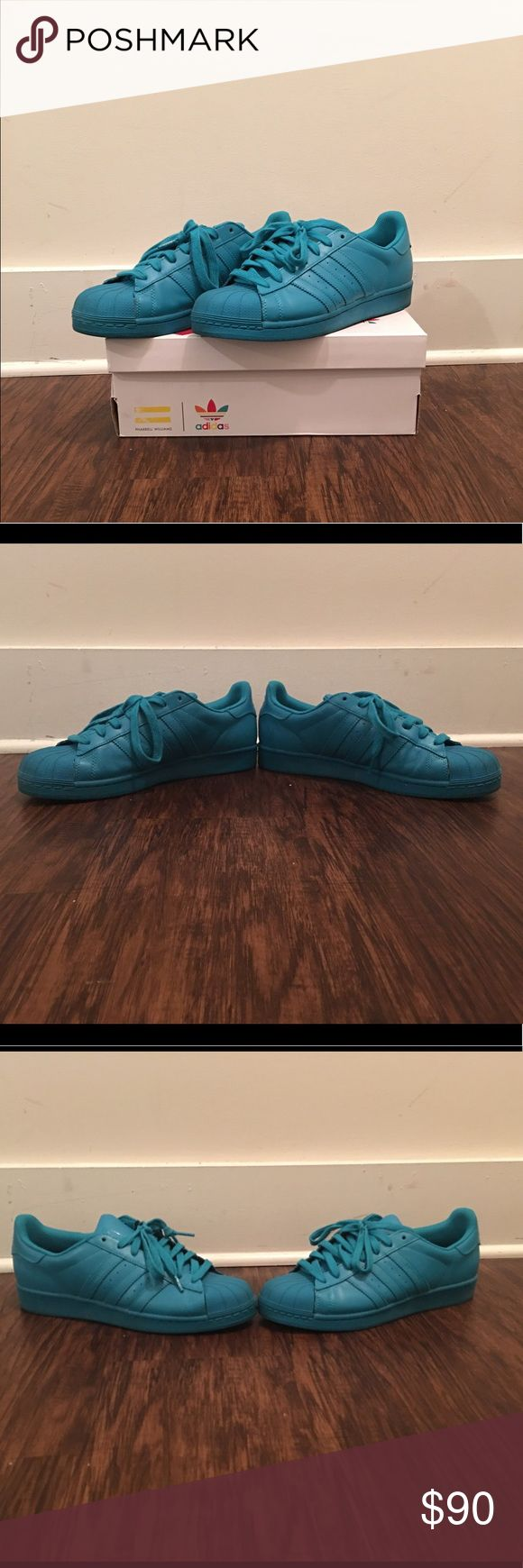 Pharrell Superstar Adicolor adidas: Lab Green Men Only worn for one season so in great condition! Limited edition of the pharell superstar collection. Color in lab green. Perfect especially for the Spring and summer. Adds a great pop of color to your outfit. adidas Shoes Sneakers