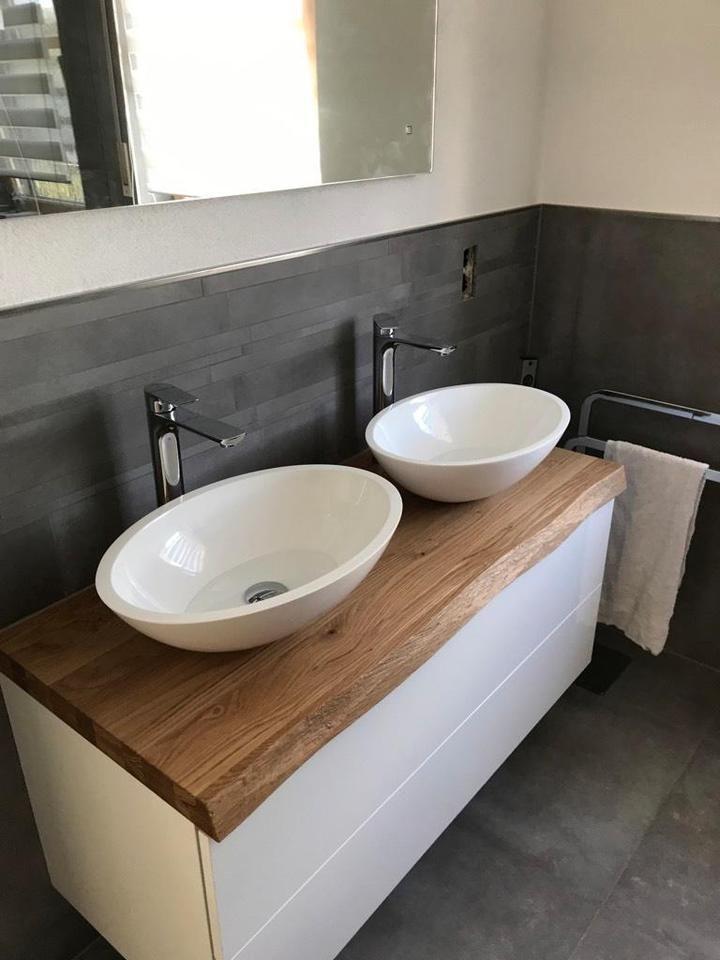 Waschtisch Platte Brett Regal Fensterbank Eiche Massiv Holz Neu In