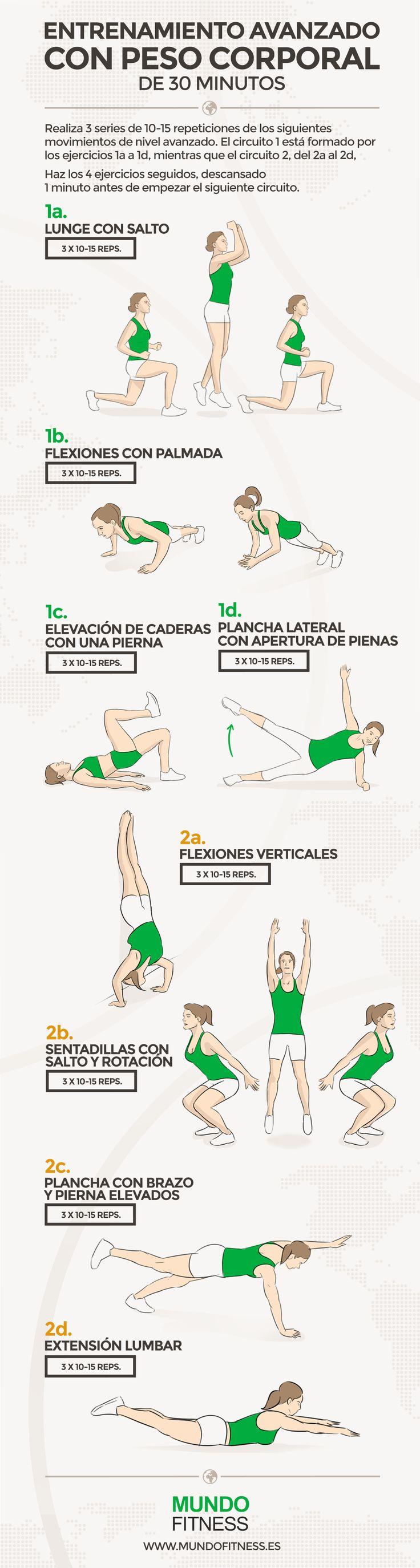 Entrenamiento avanzado de 30 minutos con peso corporal