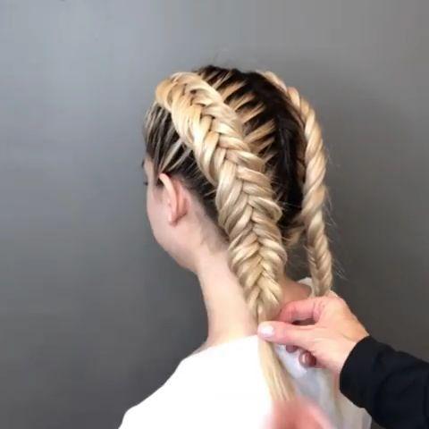 Outside Fishtail Video Tutorial Fishtail Hairstyle Hairstyles Tutorial Video Long Hair Styles Braided Hairstyles Box Braids Hairstyles