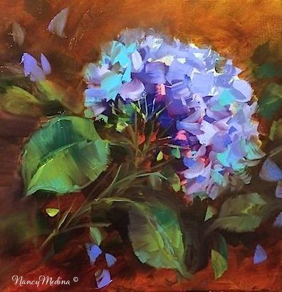 Echo Blue Hydrangea - Flower Paintings by Nancy Medina, painting by artist Nancy Medina