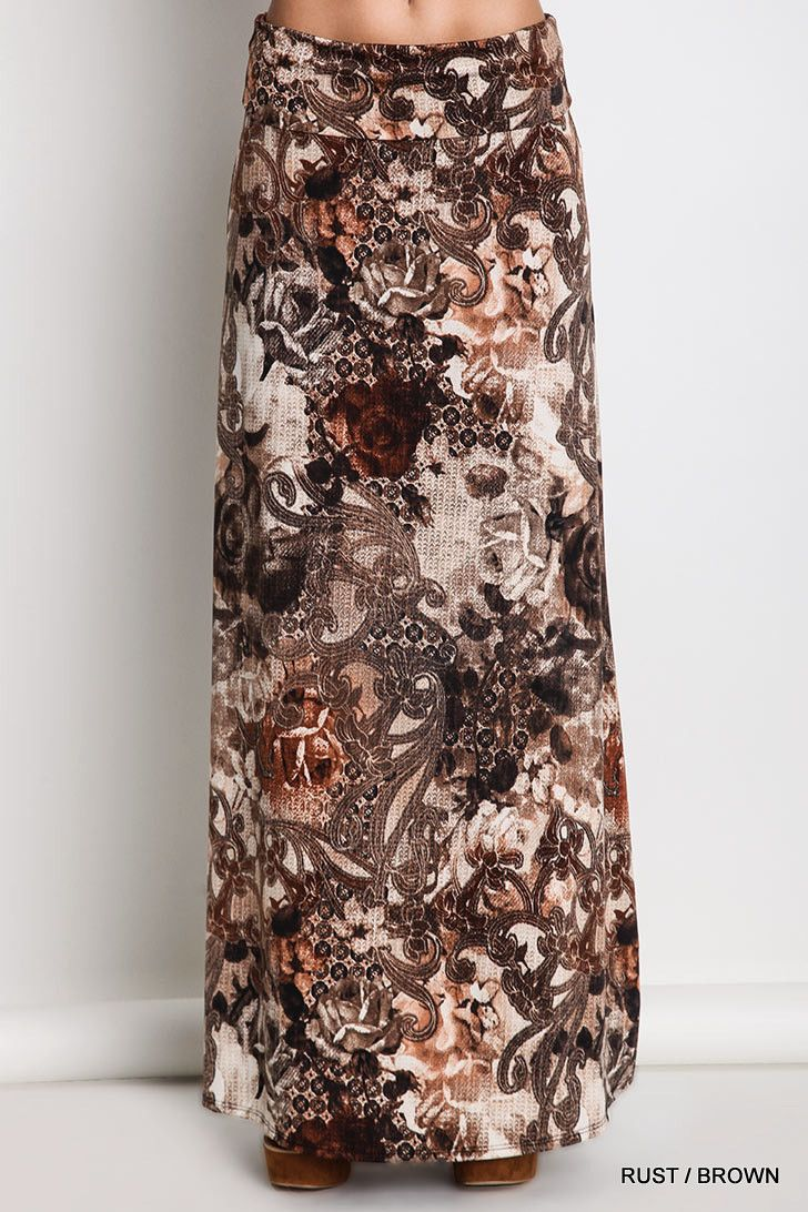 Rust/brown or grey/black variation print maxi skirt 92% Nylon, 8% Spandex Note: Hand wash cold, do not bleach, hang dry Made in USA