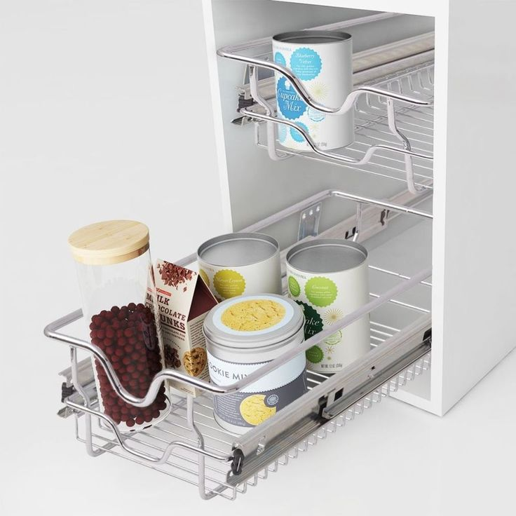Kitchen Pull Out Basket Home Wire Set 2 Pieces Cabinet Storage Cupboard Drawer #KitchenPullOutBasket