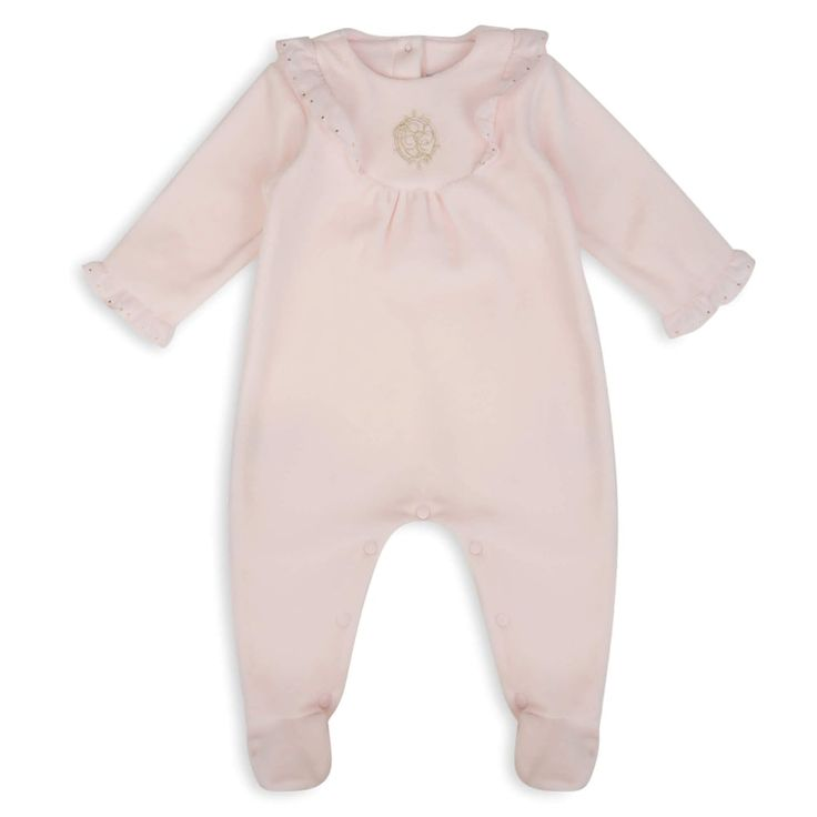 Tartine Et Chocolat Baby Girls Pink Velvet Feel Onsie with Ruffle Detailing and Gold Embroidery