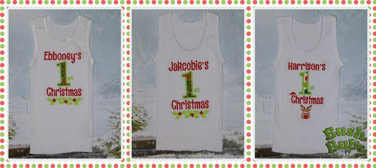 Embroidered Christmas Baby singlets $10.00 each find my page on Facebook  https://www.facebook.com/BushBubsclothingandEmbroidery?ref=br_rs