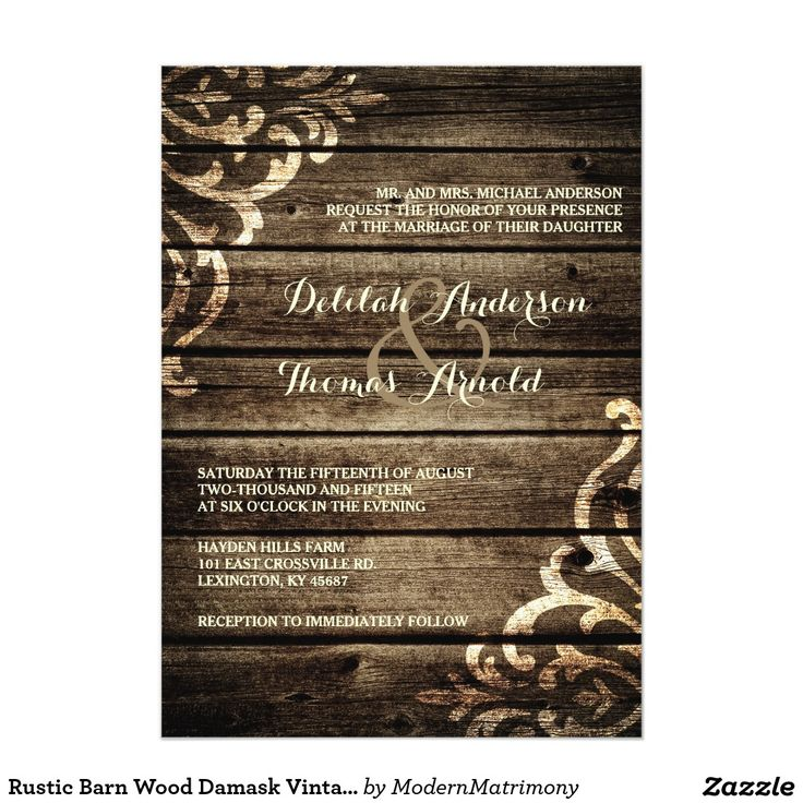 zazzle wedding invitations promo code%0A Rustic Barn Wood Damask Vintage Wedding Invitation