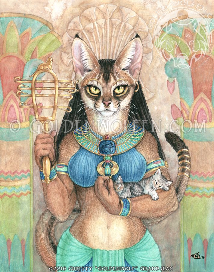 Anubis, the Egyptian Protector of the Dead, Weigher of Souls, Embalmer, and (a) Lord of the Underworld. Original is Watercolor and Colored Pencil on 11 X 14 smooth Bristol paper. 2014. Prints...