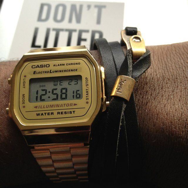 """This Gold Casio digital watch is a classic timepeice because of its simple aesthetic which has remained authentic and fashionably relevant since its original design more than 20 years ago!"
