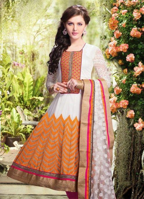 Sparkling Deep Orange & White Net #Salwar Kameez #salwarkameez #pakistanisalwarkameez #womenapparel #ethnicwear