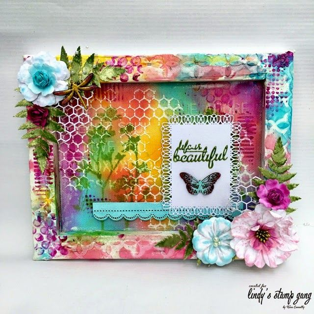 Reverse Canvas Tutorial by Tina Connolly | Lindy's Stamp Gang