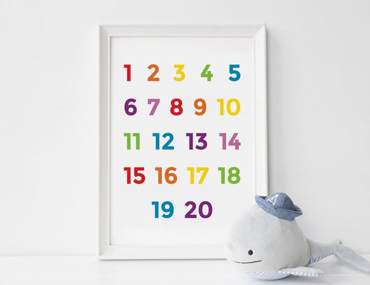 Nursery art number print educational by HelloOliveDesigns on Etsy