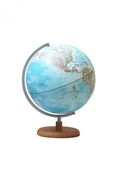 Telegram World Globe - Ash Wood Base with D-Ring Frame