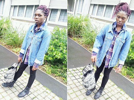 Zara Tregging, Levi's® Denim Jacket, Zara Boots, New Look Aztec Bag