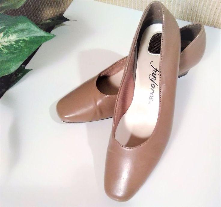Fanfares Women's Shoes Size 7 Delta Kitten Heels Square Toes Light Brown Pumps