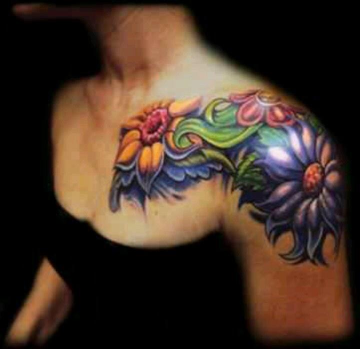Floral shoulders of or shoulder and sleeve
