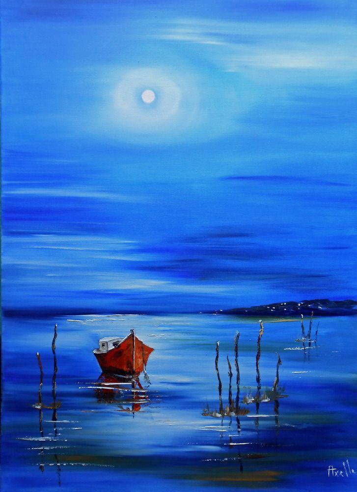 """Tableau Marine """"La Pinasse rouge du Bassin d'Arcachon"""" - peintures-axelle-bosler : Peintures par peintures-axelle-bosler"""